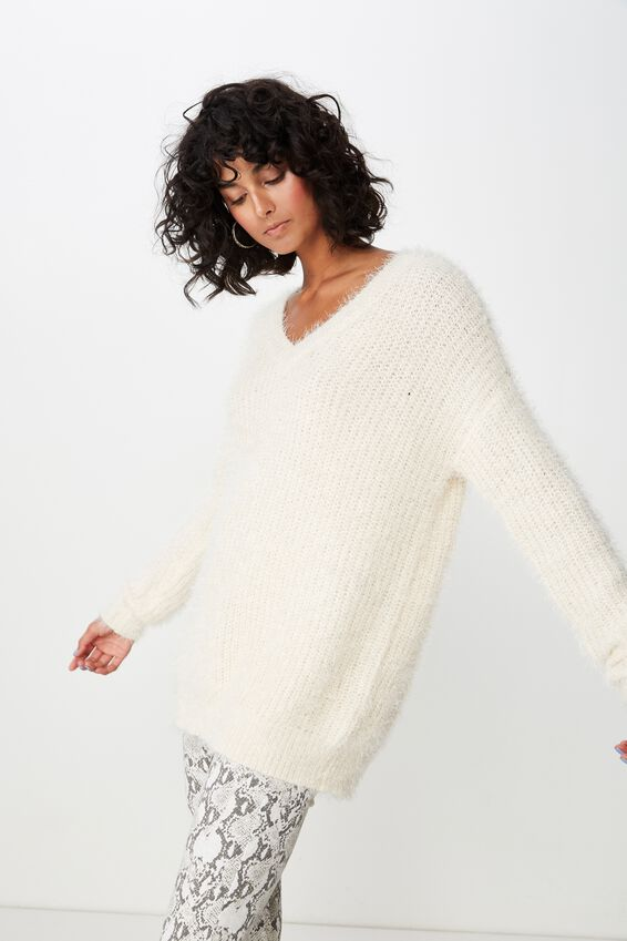 Mia V Neck Knit, CREAM PUFF