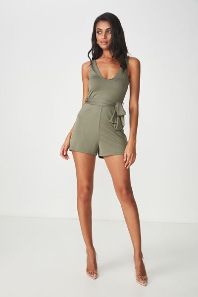 277efdc824 Deep V Tie Waist Playsuit