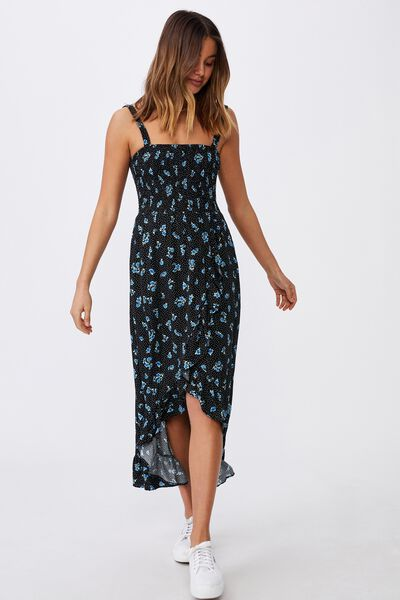 Allegra Maxi Wrap Dress, HOLLY FLORAL BLACK