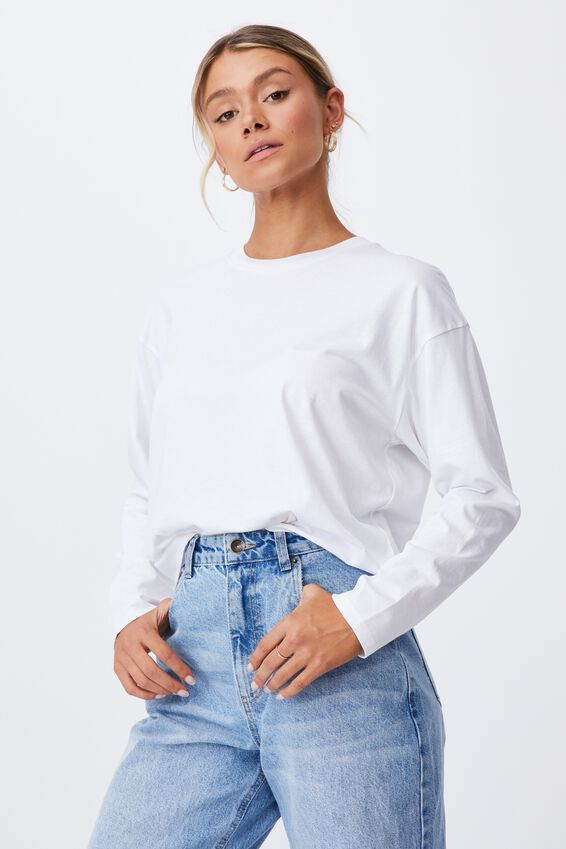 Talia Long Sleeve T Shirt, WHITE