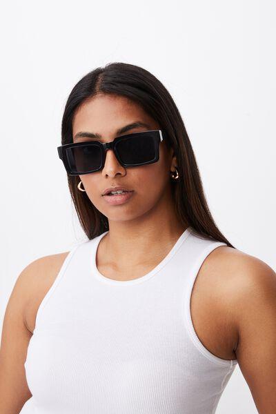 Maria Rectangle Sunglasses, BLACK
