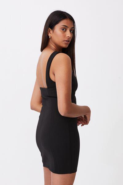 Ivanna Wide Strap Ponte Dress, BLACK