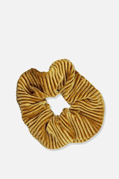 Pleated Plush Scrunchie, TOFFEE