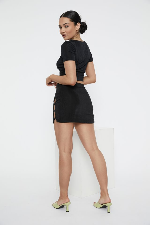 Frankie Button Mini Skirt, BLACK