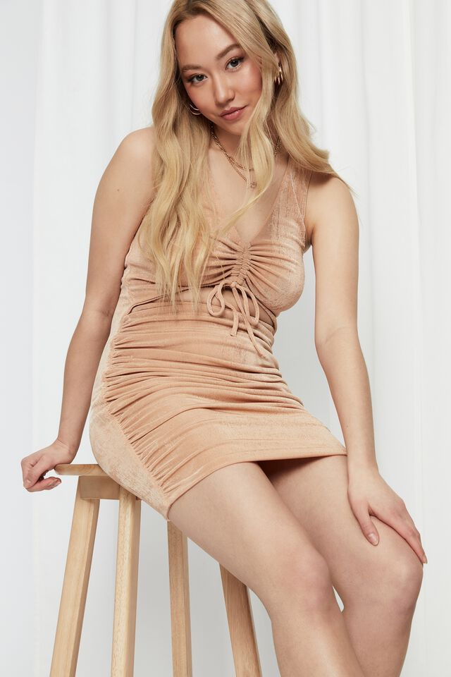 Ellie Ruched Front Mini Dress, PALE HONEY