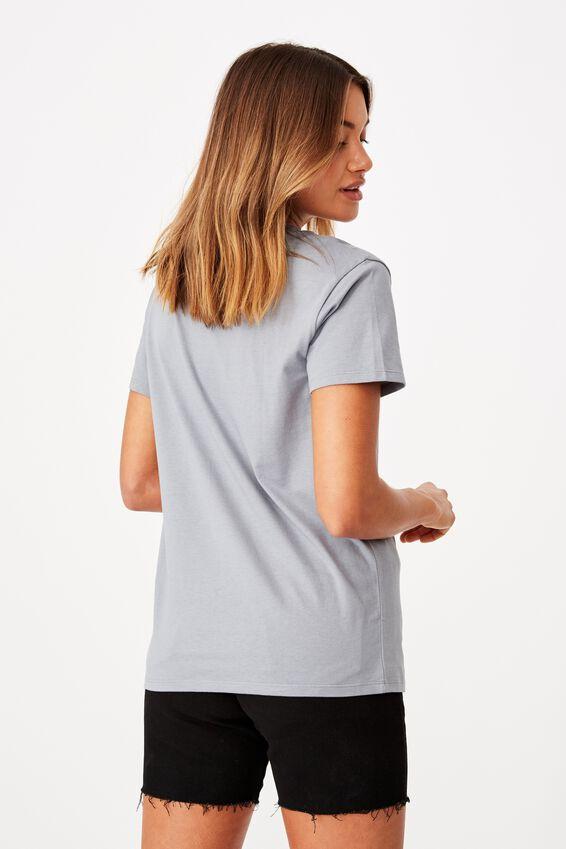Lola Printed Longline T Shirt, BLUE GREY/SAN FRAN SCRIPT