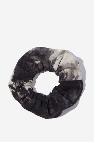 Agnes Tie Dye Scrunchie, BLACK