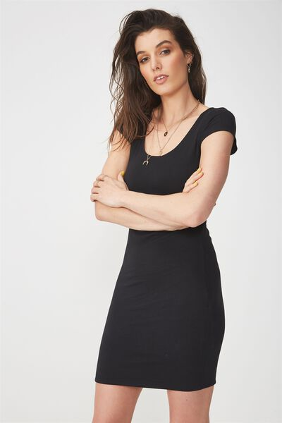 Short Sleeve Bodycon Dress, BLACK