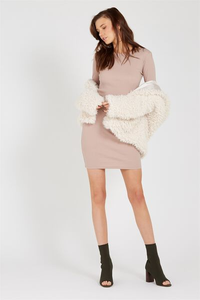 Longsleeve Rib Bodycon Dress, STONE