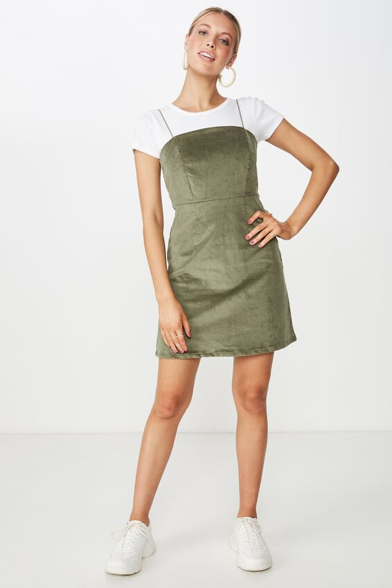 Cord Fitted Dress, MOSS KHAKI
