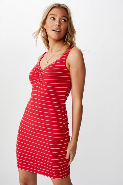 Ellie Tank Mini Dress, DOUBLE STRIPE (RED/WHITE)
