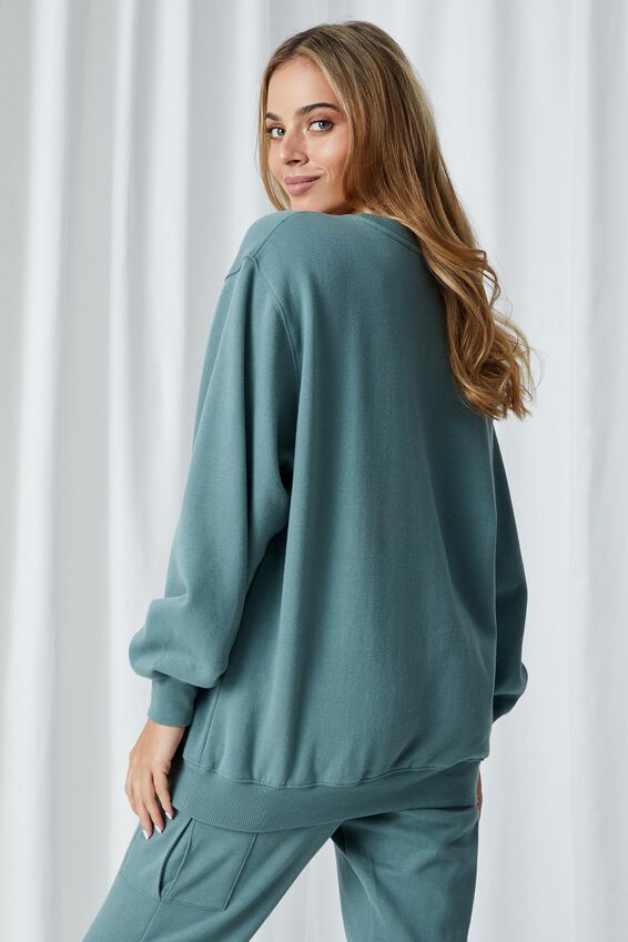Casey Boyfriend Crew Jumper, VALLEY GREEN