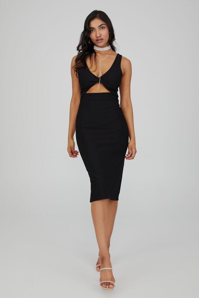 Maeve Twist Front Midi Dress, BLACK