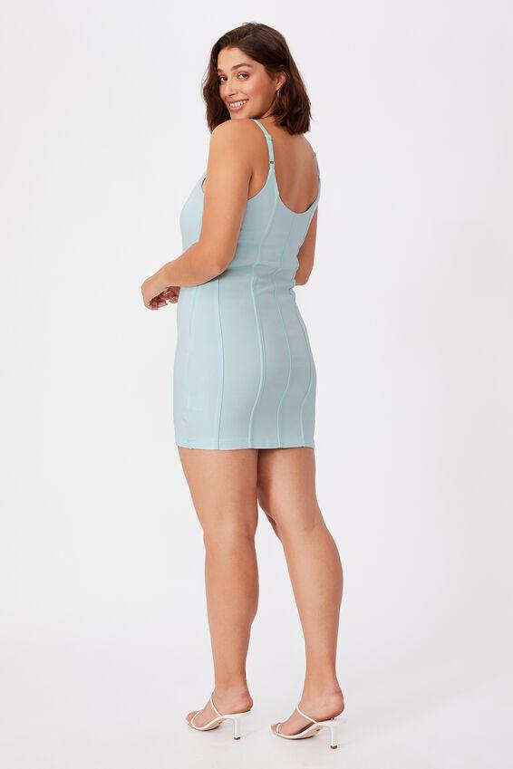 Skye Panelled Bodycon Dress, BLEACH AQUA