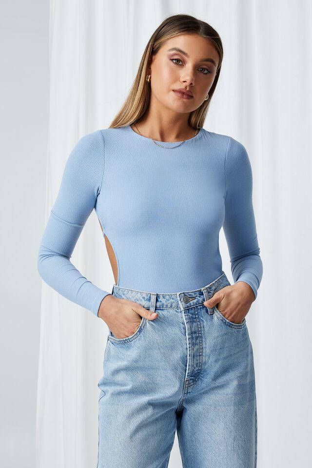 Naya Tie Up Long Sleeve Bodysuit, EURO BLUE