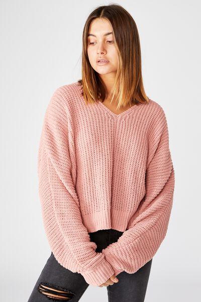 Neomi V Neck Chenille Knit, ROSE QUARTZ PINK