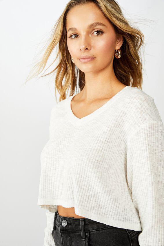 Johanna Long Sleeve Crop, WHITE