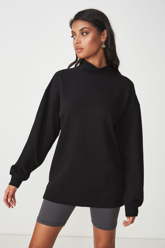 Lucy Long Sleeve Boyfriend Sweat, BLACK