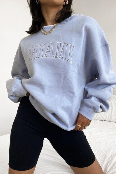 Tonya Oversized Crew Jumper, BLUE FOG/MIAMI
