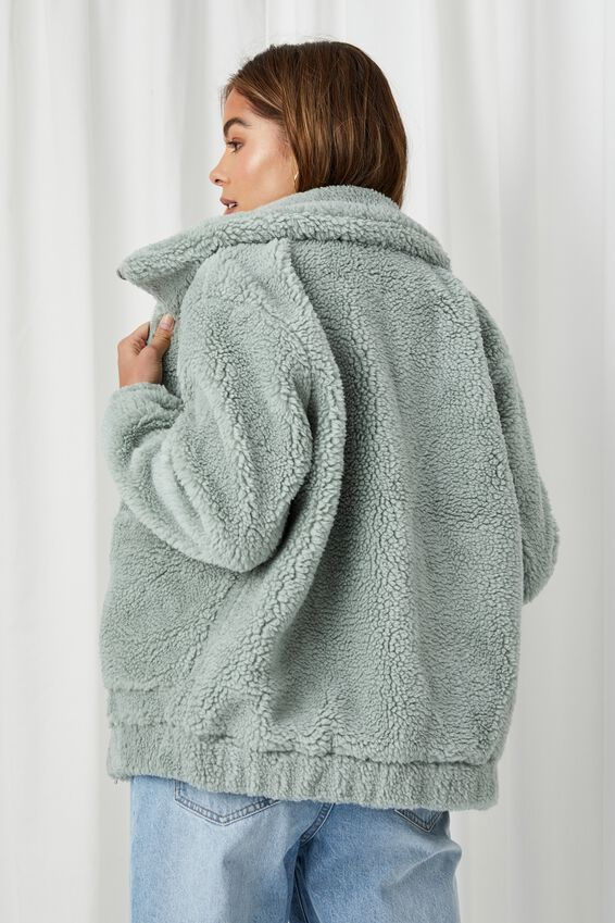 Cosy Oversized Teddy Jacket, SOFT MOSS GREEN