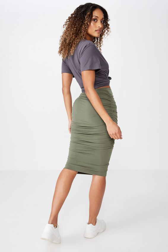 Gathered Midi Skirt, OLIVE KHAKI