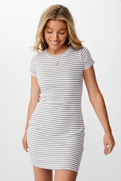 Lucia Rib Tee Mini Dress, DEEP SAGE/ANTIQUE ROSE/WHITE (YD STRIPE)