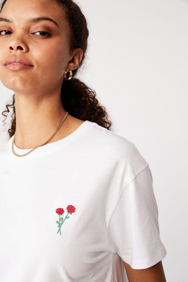 Lola Printed Longline T Shirt, WHITE/ROSES EMB