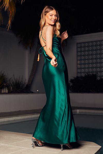 Caitlyn Cowl Neck Maxi Dress, PINE GREEN