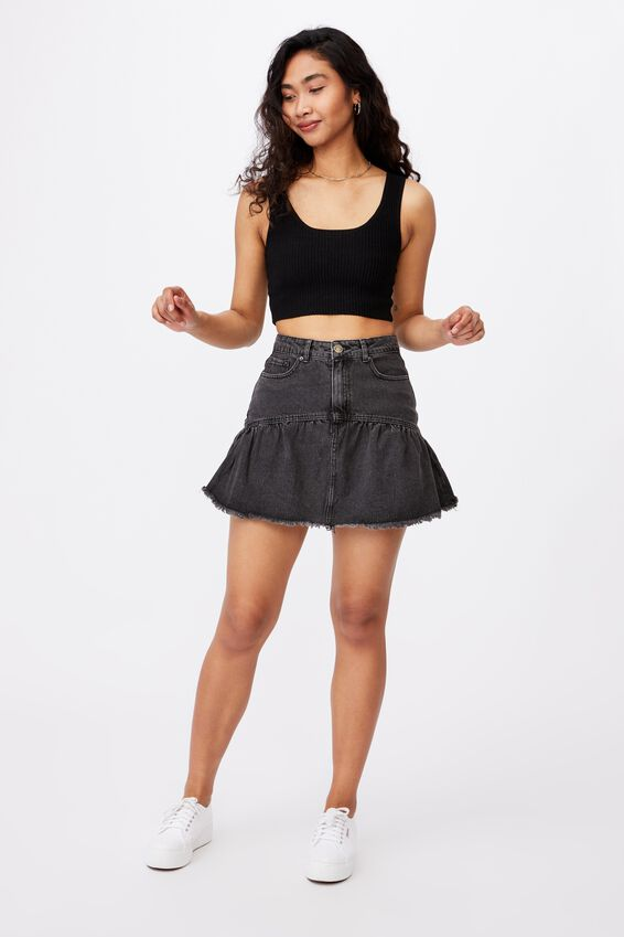 Ruffle Denim Mini Skirt, WASHED BLACK