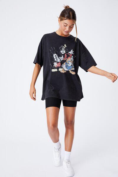 Candace Oversized Printed T Shirt, VINTAGE WASH BLACK/LCN DIS MICKEYS MATES