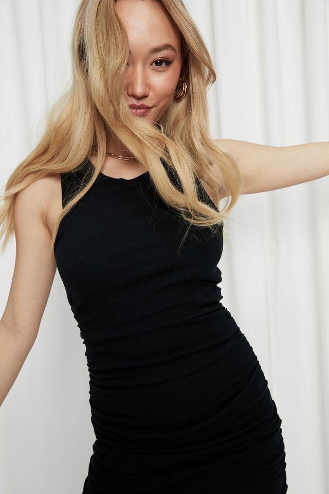 Tina Ruched Mini Dress, BLACK