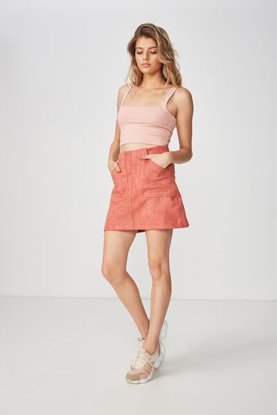 Faux Suede Patch Pocket Skirt, TERRACOTTA