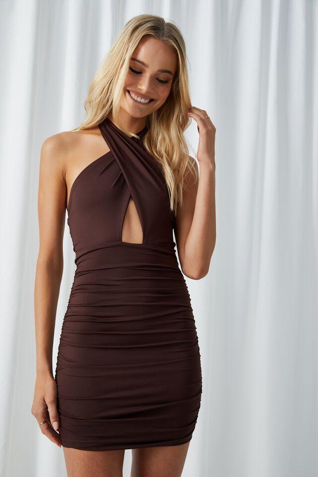 Electra Wrap Halter Mini Dress, CHOCOLATE