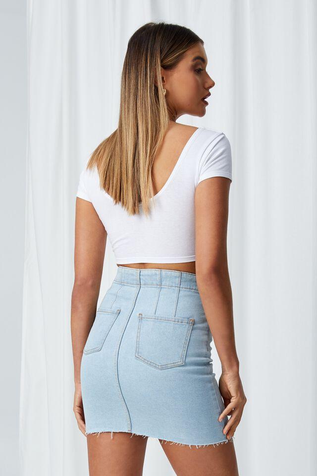 Clara Stretch Denim Mini Skirt, DARK FRESH BLUE PANEL