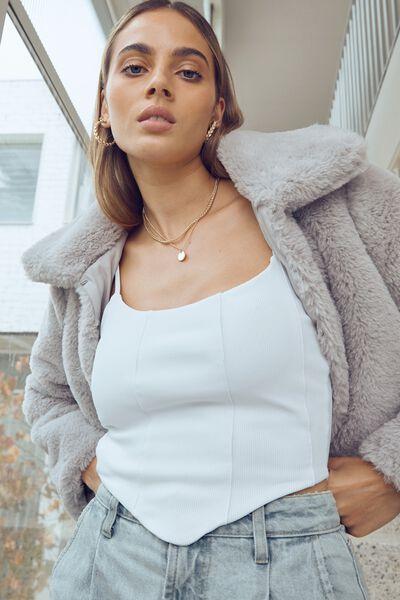 Florence Faux Fur Crop Jacket, SILVER GREY