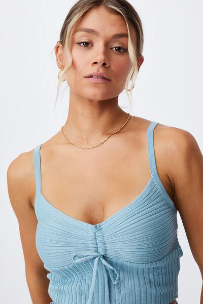 Macy Gatehred Front Knit Cami, PEACOCK BLUE