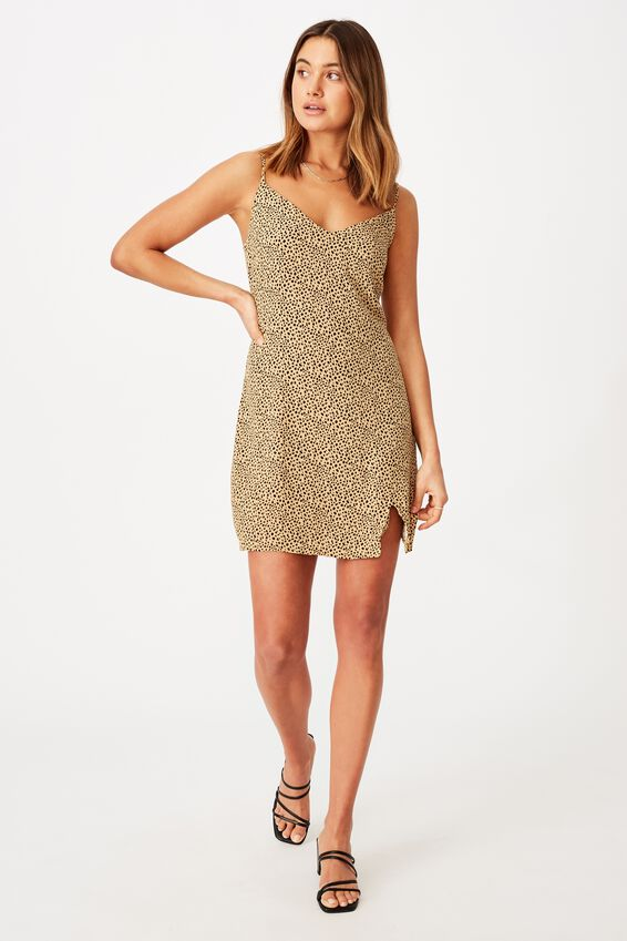 Bella Slip Dress, SCRIBBLE LEOPARD NATURAL