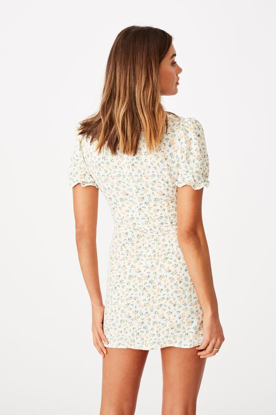 Margot Mini Dress, DAPHNE FLORAL WHITE