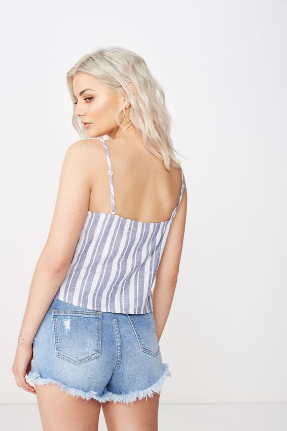 Midlength Lexi Linen Cami, TERRY STRIPE STORM BLUE