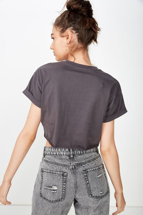Tamara Graphic Crop Tee, GRANITE GREY/RACING DREAMS