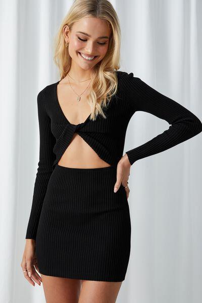 Pearl Long Sleeve Mini Dress, BLACK
