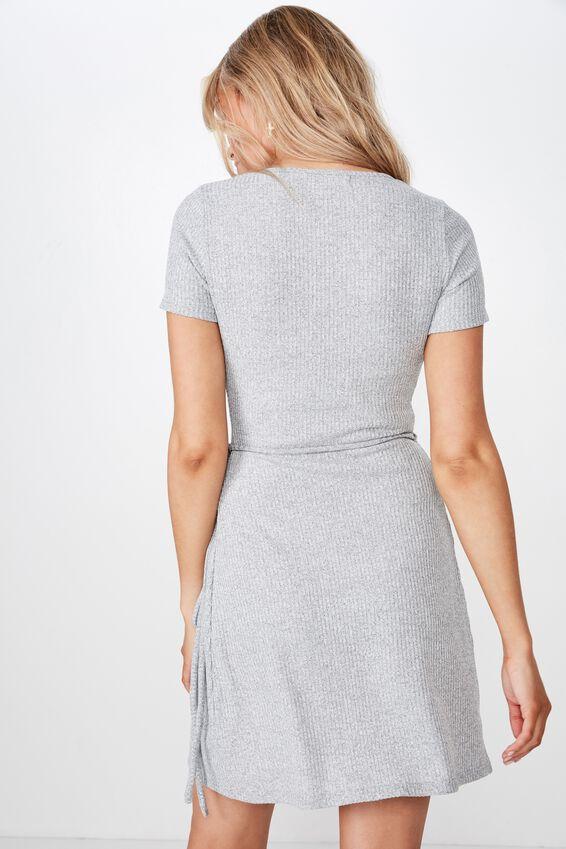 Sunny Short Sleeve Wrap Dress, GREY MARLE FLECK