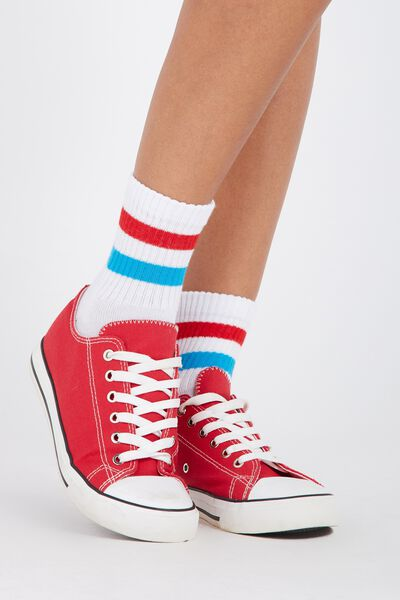 90S Sporty Crew Socks, WHITE/RED/BLUE