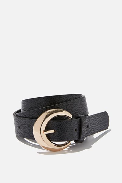 Kenzie Chunky Buckle Belt, BLACK/GOLD