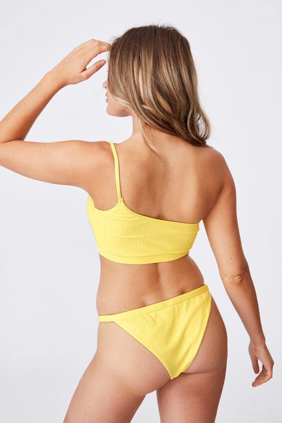 Hawaii One Shoulder Bikini Top, BUTTERCUP YELLOW/WIDE RIB