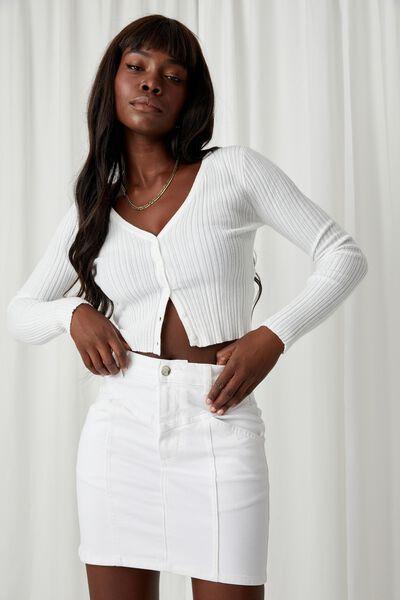 Clara Stretch Denim Mini Skirt, WHITE PANEL