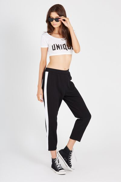 Side Stripe Crop Track Pant, BLACK/WHITE