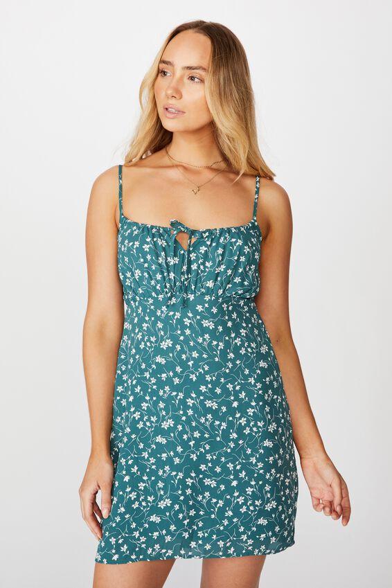 Caroline Tie Front Dress, PATRICIA FLORAL GREEN