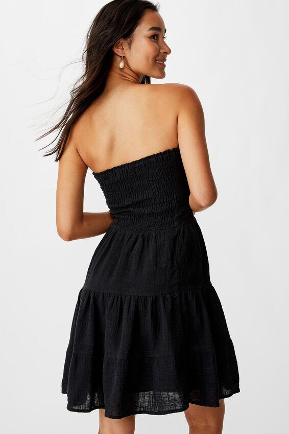 Venice Shirred Strapless Frill Dress, BLACK