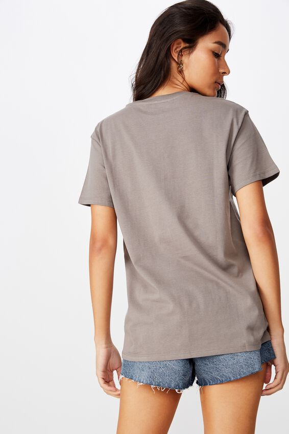 Lola Printed Longline T Shirt, CEMENT GREY WYOMING WOLF